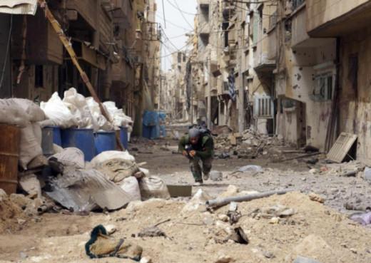 War torn Damascus in civil war.