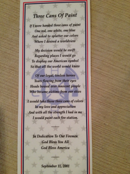 Sparklea wrote this poem, had printed on bookmarks and mailed to the firemen in New York City