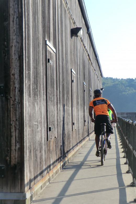 biking across the dam