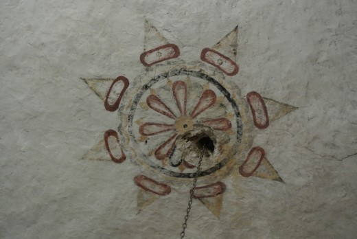 Fresco painting on a ceiling: Mission Concepcion