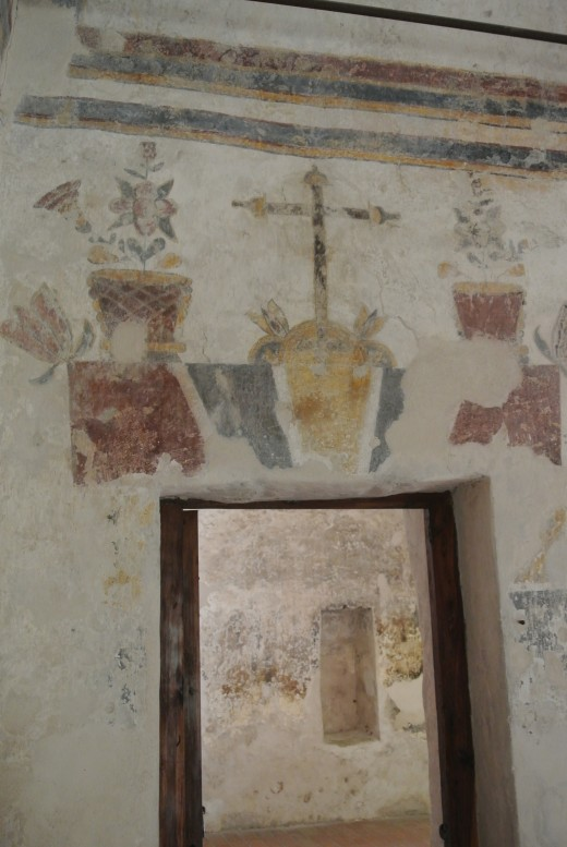 Frescos in the library at Mission Concepcion