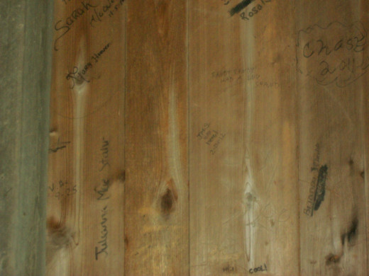 Many young courting couples would carve their names or initials on the wooden sides of the bridge.