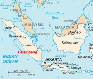 Location of Palembang in relation to Singapore