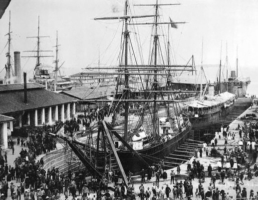 Ships docking at the busy Victoria Dock, Tanjong Pagar in the 1890s