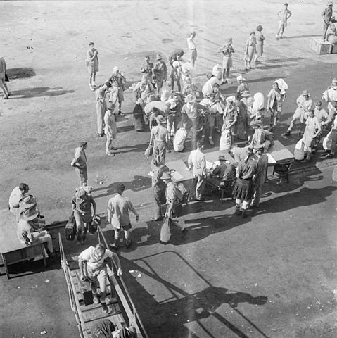 Released Prisoners of War (POWs) in Singapore returning home after World War II