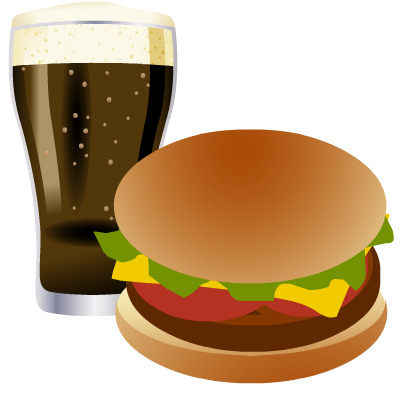 Hamburger and cola clip art