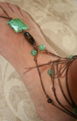 Barefoot Sandals with Beads and Hemp