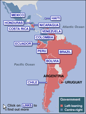 The political make up of Latin America in 2005