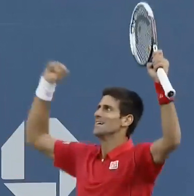 A jubliant Djokovic celebrates after a deep backhand wins him the longest rally of the match.