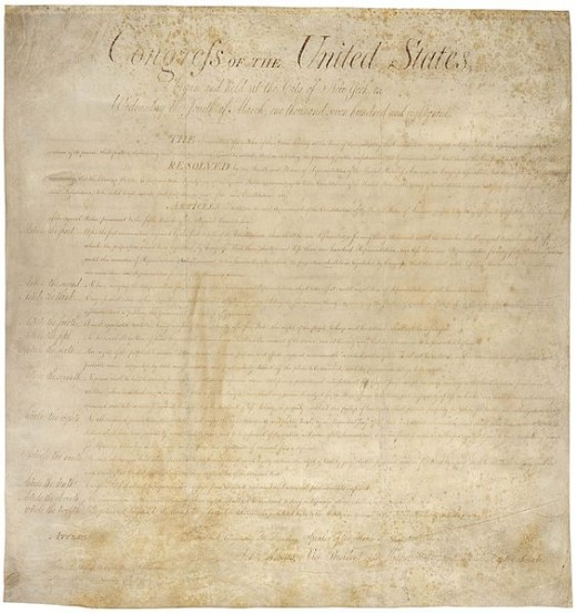 The Original Bill of Rights as Created on 25 September 1789, and Ratified by Congress 15 December 1791