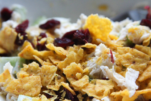 Crumbled up chips from the bottom of the bag are a great salad topping.