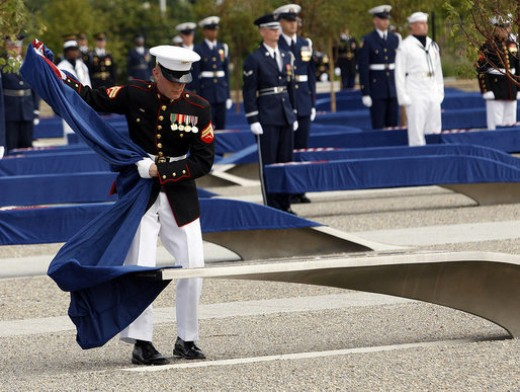Unveiling of 184 memorial benches at the 9/11 Pentagon Memorial on September 11, 2008.