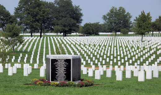 Victims of Terrorist Attack on the Pentagon Memorial, Arlington National Cemetery. Located nearest victims of the attack.