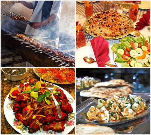 Afghan Cuisine with mantu on lower right