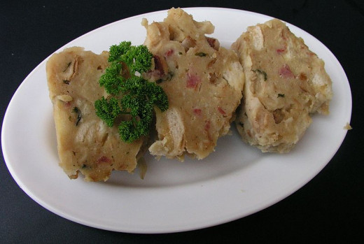 bacon knedlík as served in restaurant Dolce Vita Loubská