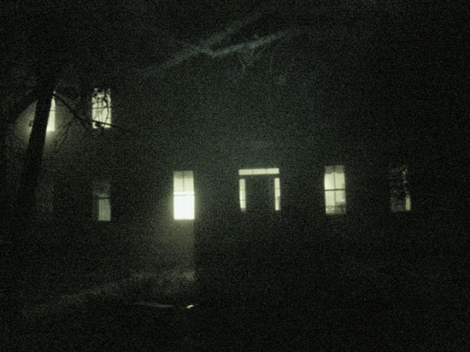 A night vision photo of a haunted house near Corpus Christi.