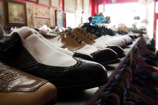 Thrift shop shoe racks