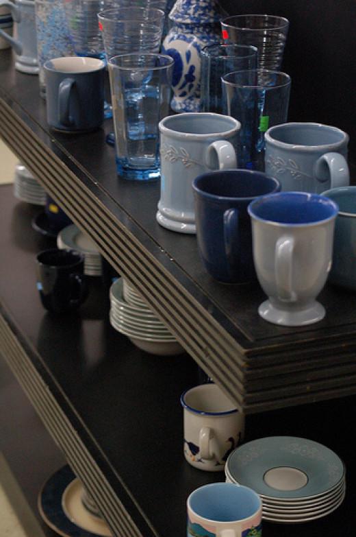 Thrift store kitchen items aisle shelf