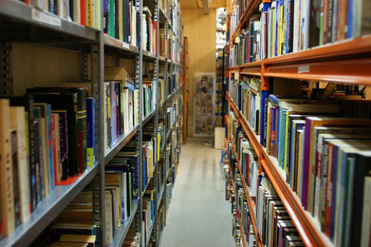 Thrift shop bookshelves aisle