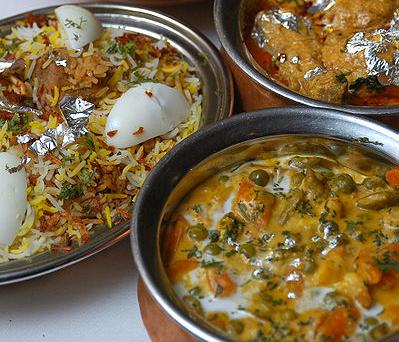 Typical hyderabadi biryani with boiled egg garnishing.