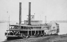 Ben Campbell steamship at landing, restored version of a daguerreotype