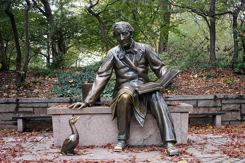 Hans Christian Andersen with one of his characters, the Ugly Duckling.