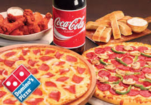 Wings, coke, cinnamon sticks, thin crust pizza and a hand tossed pizza are just some of the items on a Domino's menu.