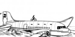 It's not a good idea to ride a bike on an airplane.