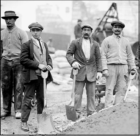 Men with strong backs and good horses were needed for 19th century construction.