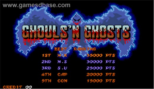 The excellent spooky menu screen for the Ghouls n Ghosts arcade game