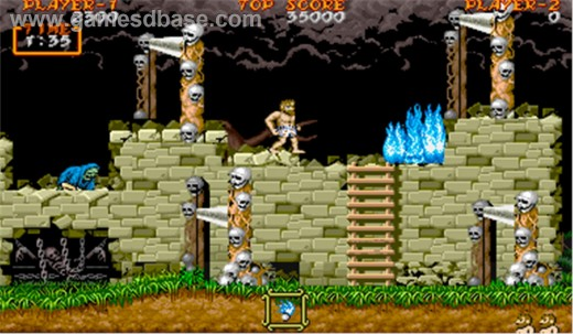 Note that Arthur is now running around in his pants in Ghouls n Ghosts arcade game