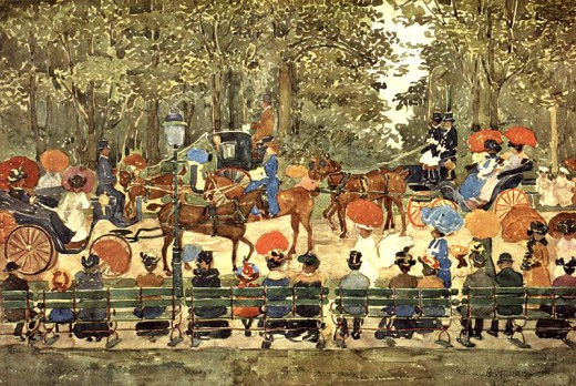 American artist Maurice Prendergast captured the 1900s Central Park scene in watercolor.