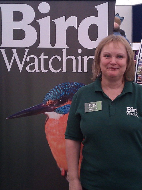 Sheena Harvey editor of Bird Watching magazine, at a bird-watchers' fair at Middleton Hall, on 21 May 2011.