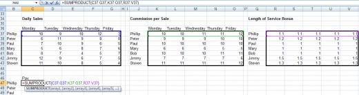 SUMPRODUCT formula modified to include the added cells in Excel 2007 and Excel 2010.