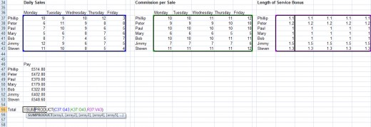SUMPRODUCT calculating the overall pay for the entire sales team in Excel 2007 and Excel 2010.