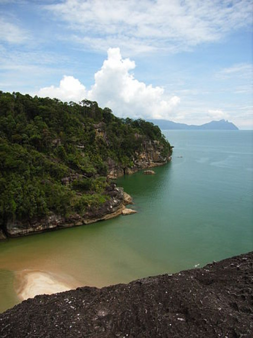 Aerial view of the coast of Bako National Park, Sarawak