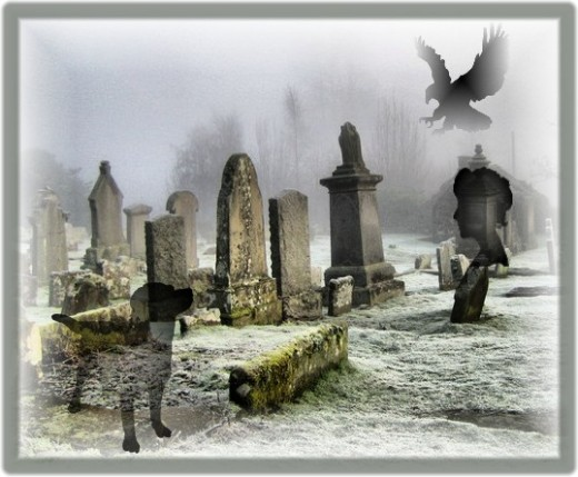 People as well as animals are associated with graveyards both as protectors and as spirit hauntings.