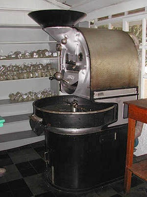 Not ca. 1921, but 1950s Probat 10 kilo roaster at El98 farm in El Salvador.