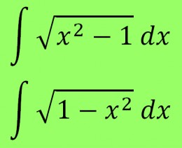 Integrals of sqrt(x^2 - 1) and sqrt(1 - x^2)