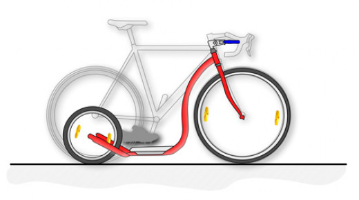 This shows the Kickbike in comparison to a bike.