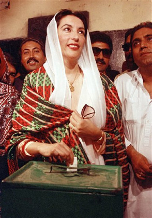 Bhutto wore the colors of the Pakistani flag to her inauguration as Prime Minister of Pakistan