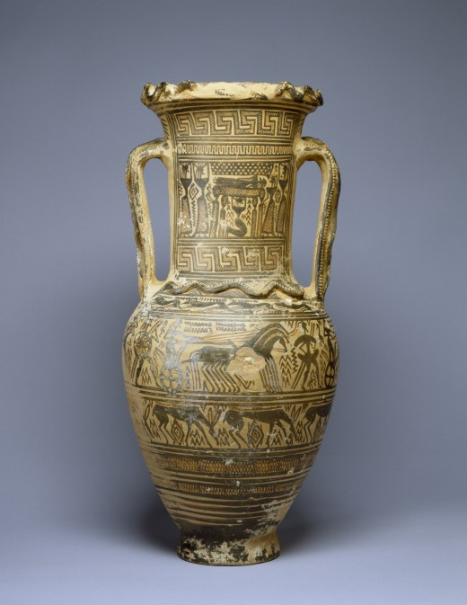 "An ""amphora"" is a two-handled vessel used to store wine, oil, honey, or grain. Vases such as this one, however, were made to be buried in tombs and depict moments in the funerary ritual."