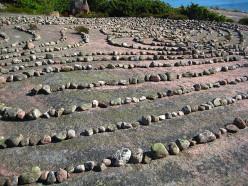 Stone labyarinth on Bla Jungfrun (Blue Virgin) Island, Sweden.