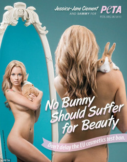 Jessica-Jane Clement in an anti animal  testing ad