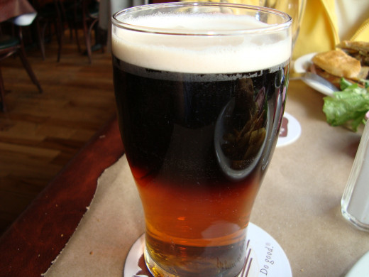 A perfect glass of Guinness Stout and Bass Ale