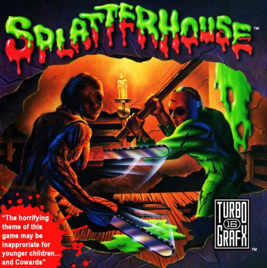 Note the humorous 'warning' on this cover for Splatterhouse on the Turbo 16 Grafx