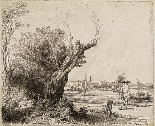 Rembrandt, The Omval, etching with drypoint, 1645