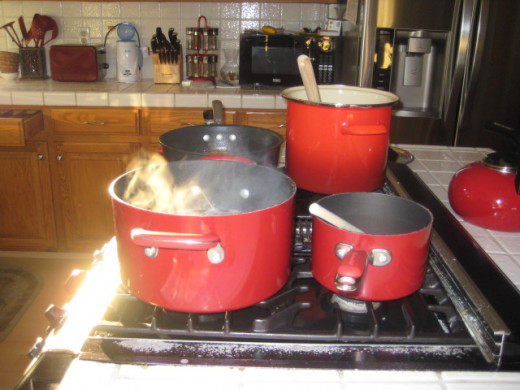 Utilizing all burners on the stove is key to economical cooking.
