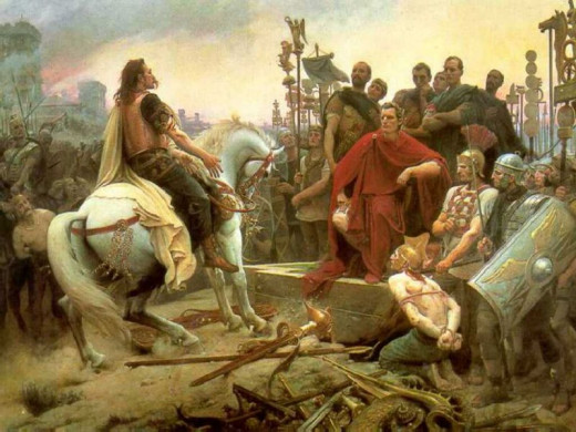 Julius Caesar accepts the Helvetii surrender after their defeat at Bibracte. Two of the chief Orgetorix' offspring are captured with his' baggage train, but Caesar has to chase them 60 km before he can consider Gaul 'safe' from them crossing