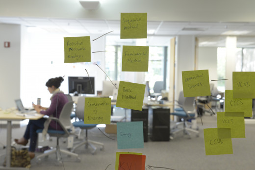 A glass conference room wall serves as a makeshift board to organize projects.